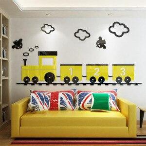 Желтый мультяшный настенный стикер с поездом для детских комнат детские настенные фрески для спальни наклейки для гостиной наклейки для де...