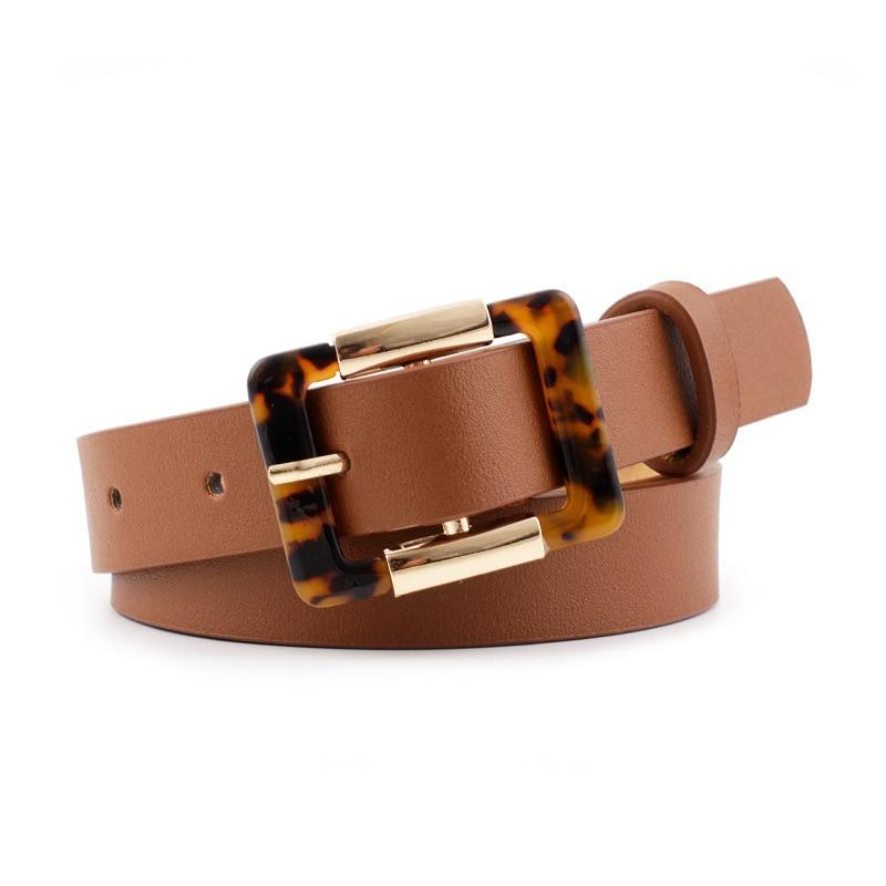 2019 Luxury Leopard Print Belt Women Black Brown PU Leather Waist Belts For Ladies Dress Cinturones Para Mujer