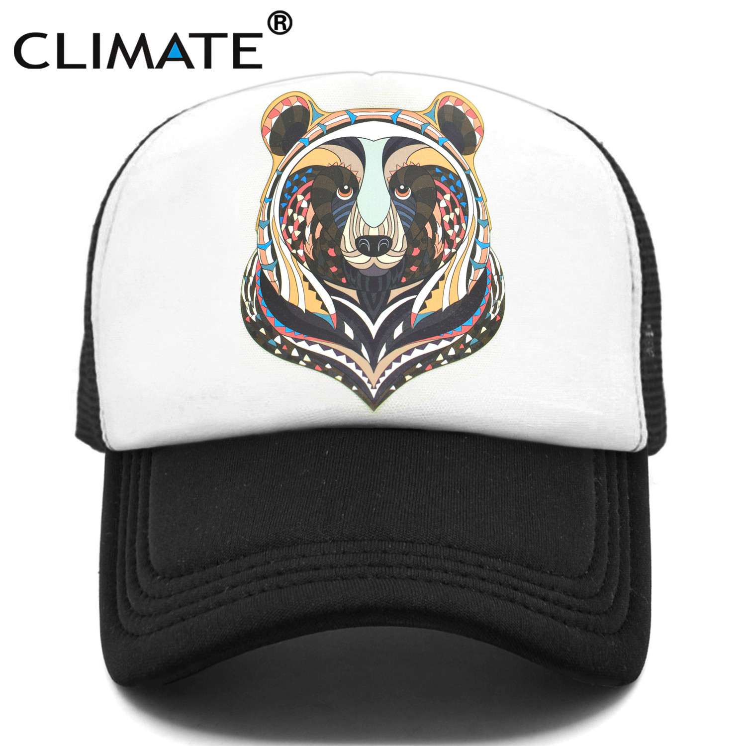 CLIMATE Bear Trucker Cap Cool Forest Bear Cap Men Brown Bear Hunter Hunting Hip Hop Hat Baseball Cap Cool Summer Mesh Cap