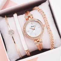 Lvpai Marke Luxus Rose Gold Diamant Frauen Armband Uhren Mode Quarz Uhren Damen Casual Armbanduhr Set Dropshiping