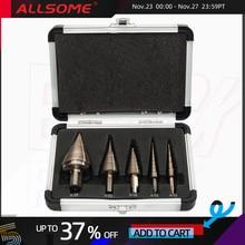 ALLSOME 5pcs מטרי Hss קובלט מקדח שלב סט מרובה חור 50 גדלים עם אלומיניום קייס