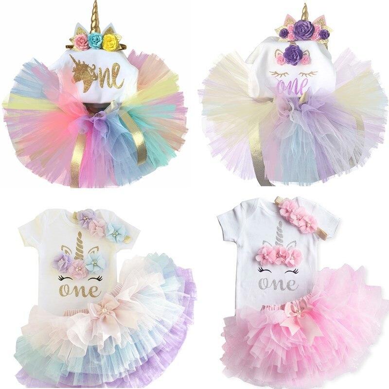 2020 Baby Girl 1 rok sukienka urodzinowa jednorożec stroje letnie sukienki dla dzieci na dziewczynę odzież 12 miesięcy maluch niemowlę ubrania imprezowe