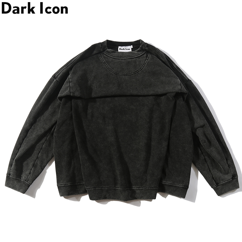Dark Icon Washing Grey Back Pleated Oversized Street Sweatshirt Men Solid Color Crew Neck Hi-end Fashion Hipster Sweatshirt