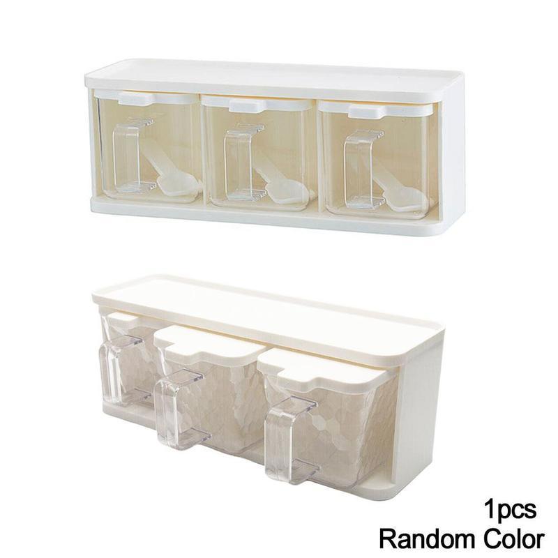 1PC PP Spice Jars Seasoning Box Storage Condiment Jar W//Lid+Spoon Kitchen Tool