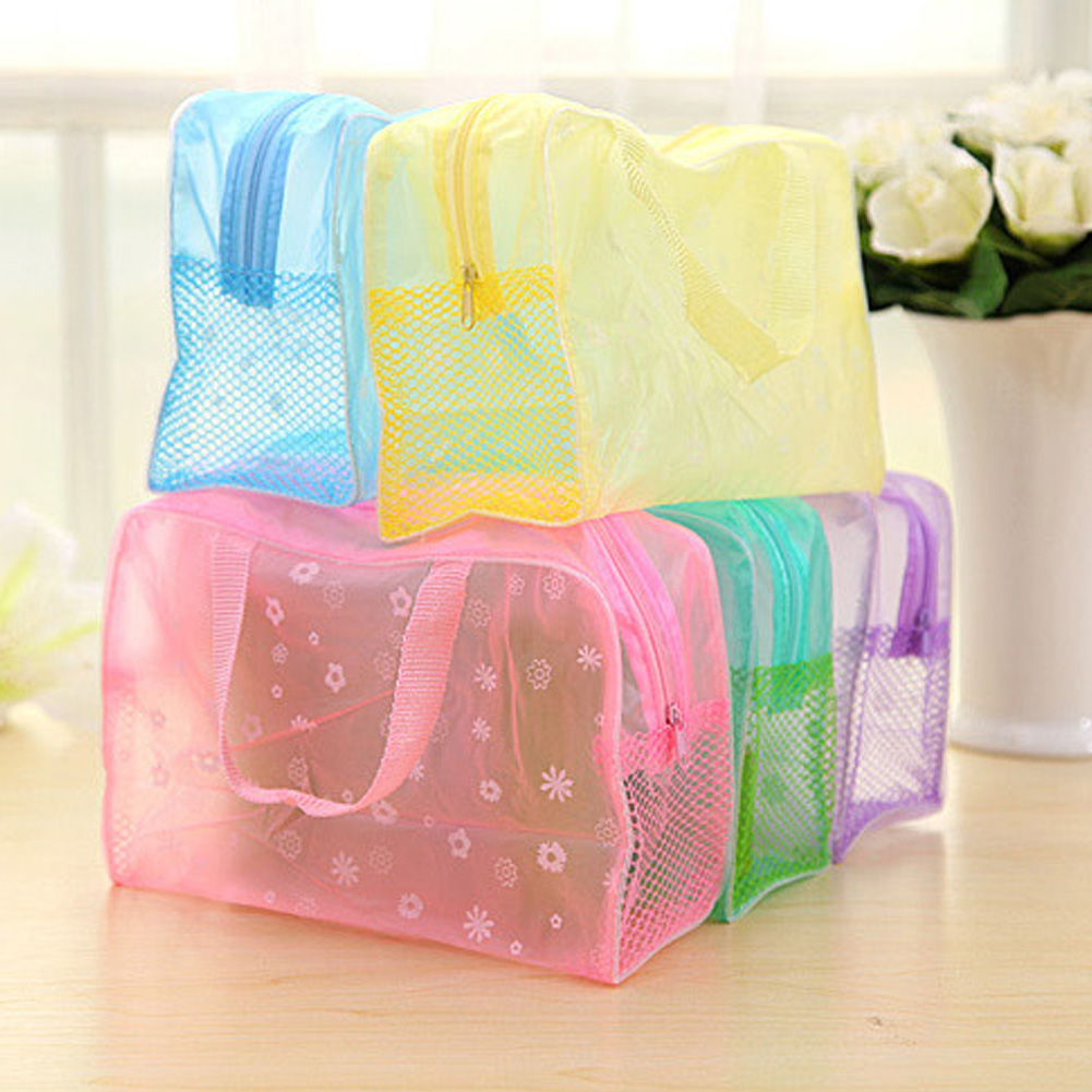 5 Colors Make Up Organizer Bag Toiletry Bathing Storage Bag Women Waterproof Transparent Floral PVC Portable Travel Cosmetic Bag