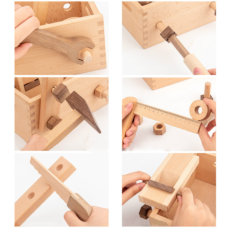 Ferramenta de reparo multifuncional infantil, de madeira,