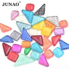 JUNAO разноцветные блестящие стеклянные мозаичные камни мозаичная стеклянная плитка галька ремесла материал Детский пазл для рукоделия мозаики
