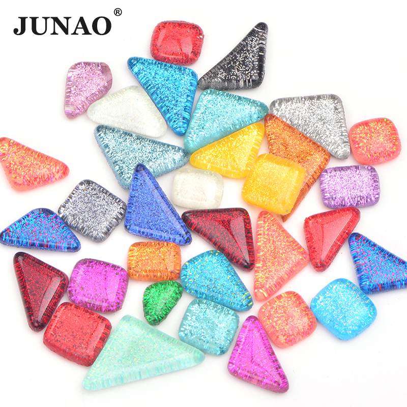JUNAO Mix Color Glitter Glass Mosaic Stones Mosaic Tiles Glass Pebbles Crafts Material Children Puzzle for DIY Mosaic Making image
