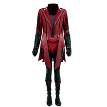 Cossky Wanda Scarlet Cosplay Costume Witch Battle Suit Red Pu Outfit Women Superhero Costume doctor strange costume dr strange steve cosplay costumes outfit superhero battle suit blue red magic cloak full set custom made