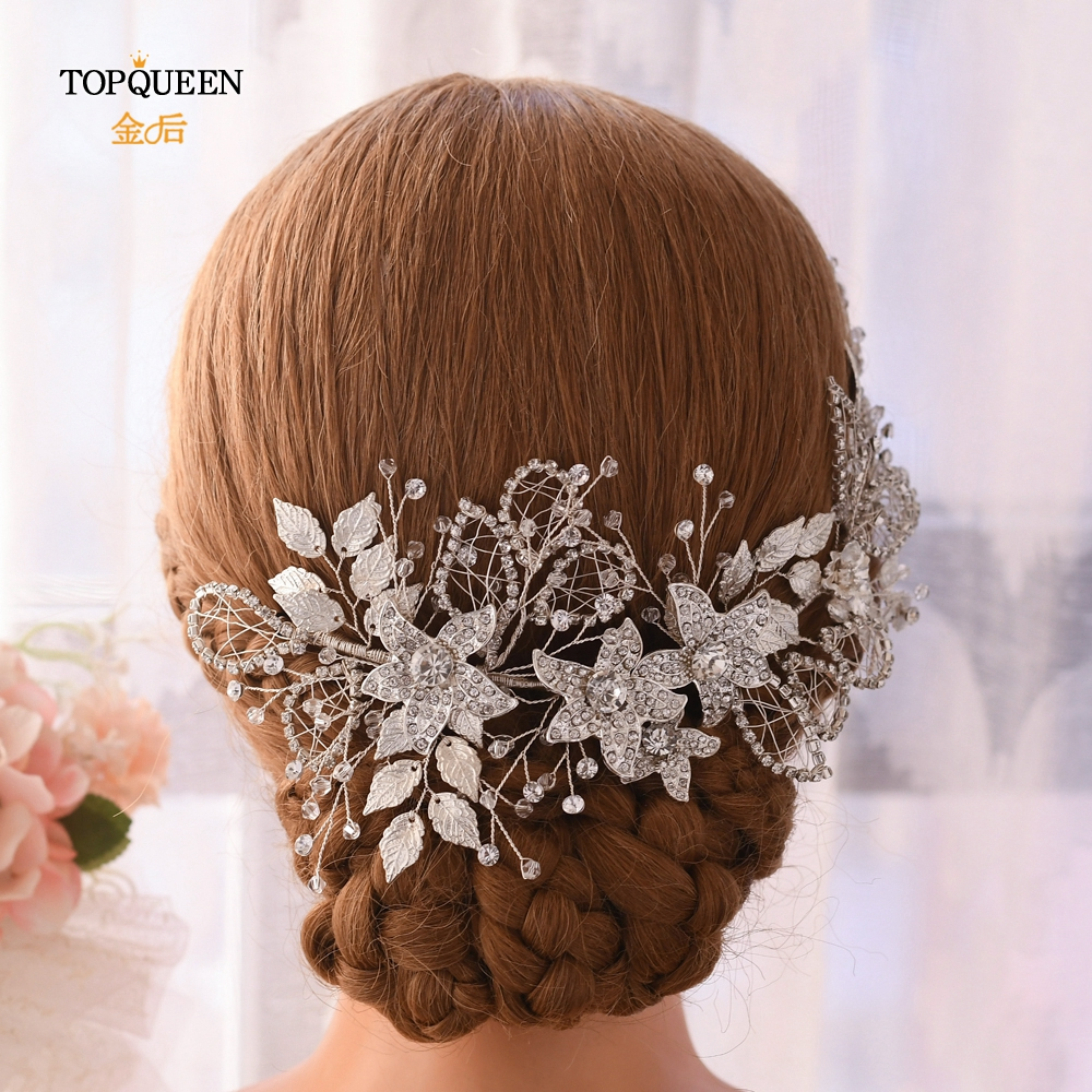 TOPQUEEN Sliver Alloy Leaf Wedding Headband Floral Bridal Headpieces Diamond Chain Bridal Crown Hair Jewelry Women Tiara HP282