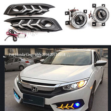 led Daytime Running Lights with Angel Eyes For Honda Civci 10th 2016 2017 2018 Car LED drl Front Fog Lights fog lamp fog light osmrk drl daytime running light ccfl angel eye fog lamp with projector lens fog lamp cover for suzuki alto 2010 13