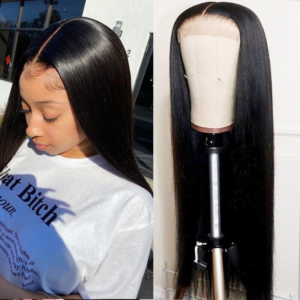 Transparent Lace Wigs For Black Women Cheap Human Hair Wigs Peruvian Hair Bone Straight 4x4 13x4 Lace Front Closure Wig