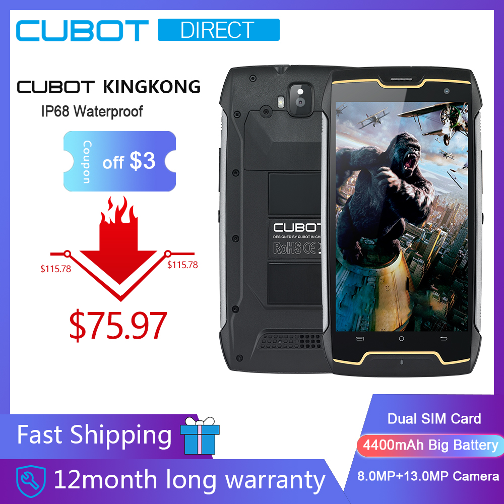 Cubot KingKong IP68 impermeable Smartphone robusto gran batería 4400mAh 3G Dual SIM Android 7,0 2GB RAM 16GB ROM brújula + GPS MT6580-in Los teléfonos móviles from Teléfonos celulares y telecomunicaciones on AliExpress - 11.11_Double 11_Singles' Day 1