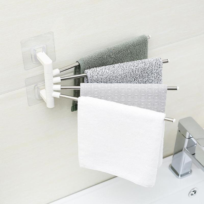 Stainless Steel Kitchen Rag Holder Wall Hanging Bathroom Toilet Towel Hang Shelf Arbitrary Placement Wiping Clean Life