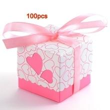 ABUI-100x Dragee свадебные сердце декорация с крещением стол+ лента розовый