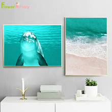 Dolphin Blue Seawater Wall Art Canvas Painting Beach Seascape Nordic Poster Modern Prints Pictures For Living Room Unframed