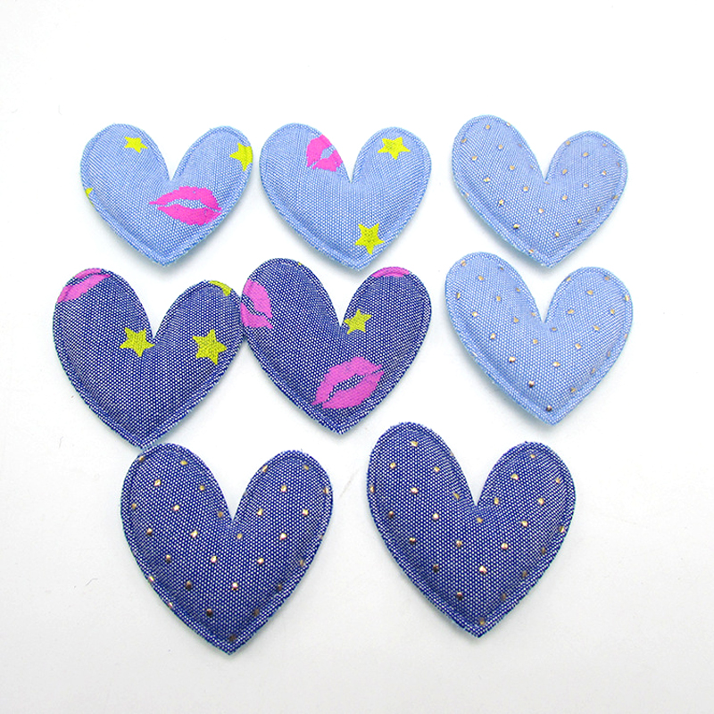 30pcs/lot 4.5cm Denim Fabric patchs, Sweet heart padded appliques for Children's headwear,garments accessories, DIY Suppliers(China)