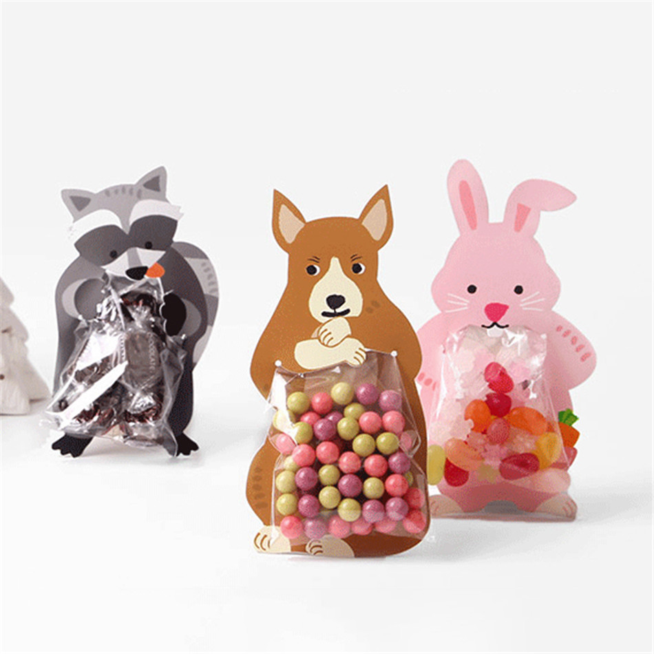 10pcs/lot Animal Baby Shower Birthday Party Cute Gift Bags Candy Bags Cookie Bags Bear Candy Box Greeting Cards Popular Rabbit