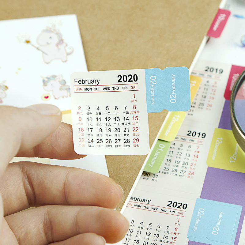 2019 2020  Color Calendar Sticker DIY Cartoon Washi Scrapbook Decoration Planner Diy Sticker Notebook Office Stationery