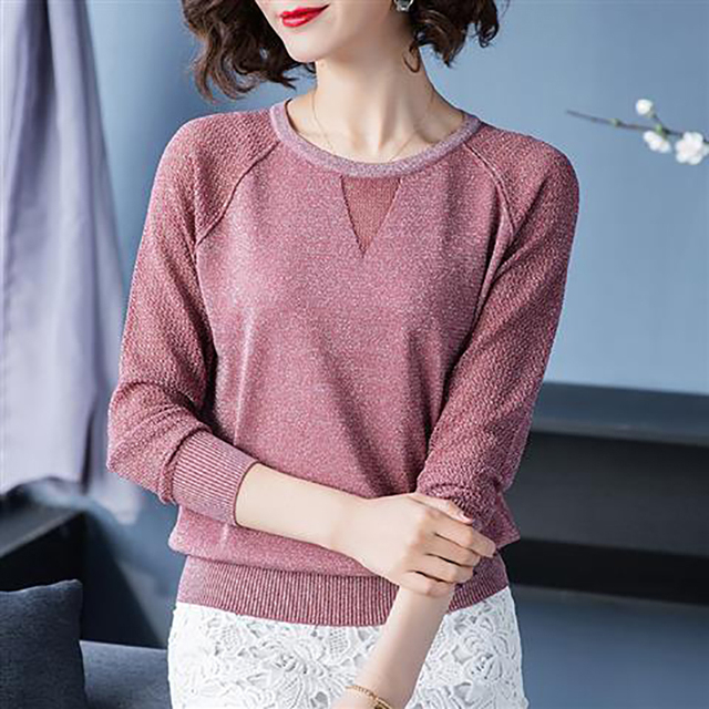 Women Spring Autumn Style Knitted Blouses Shirts Lady Casua Long Lace Sleeve O-Neck Knitted Blusas Tops DD8858 1