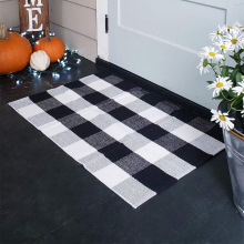 Cotton lattice black and white lattice floor mat doormat kitchen bathroom outdoor porch rug