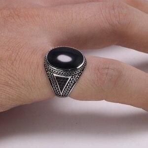 Image 4 - Anillos de plata auténtica para hombre, anillos de plata s925 Retro Vintage grandes turcos para hombres con piedras turcas de Color, joyería para hombres