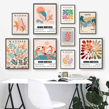 Classic Matisse Abstract Leaves Lines Wall Art Canvas Painting Nordic Posters And Prints Wall Pictures For Living Room Decor abstract girl figure leaves flower boho wall art canvas painting nordic posters and prints wall pictures for living room decor