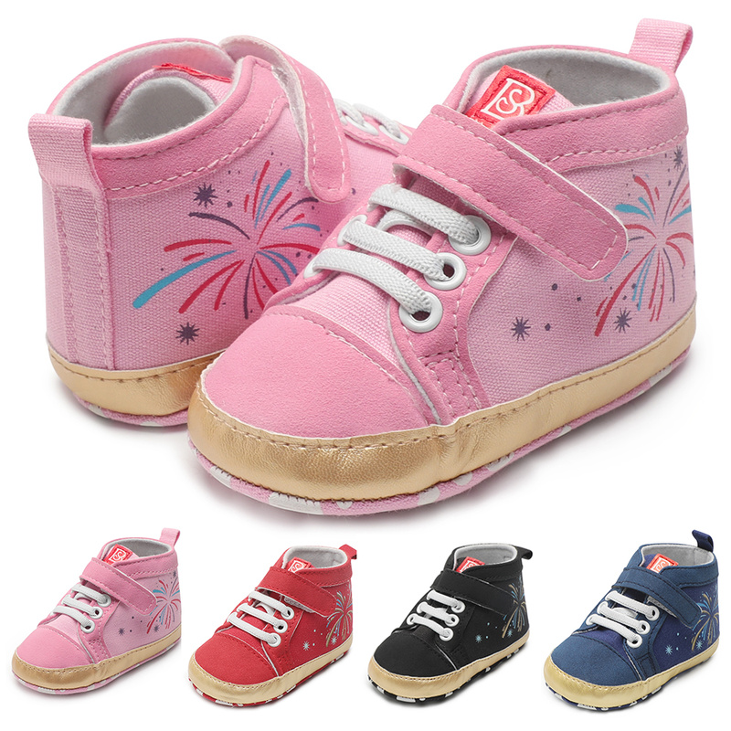 Infant Baby Boy Girl Shoes Cotton Sneaker Anti-slip Sole Soft Light Newborn Toddler First Walkers Firework Print Crib Shoes