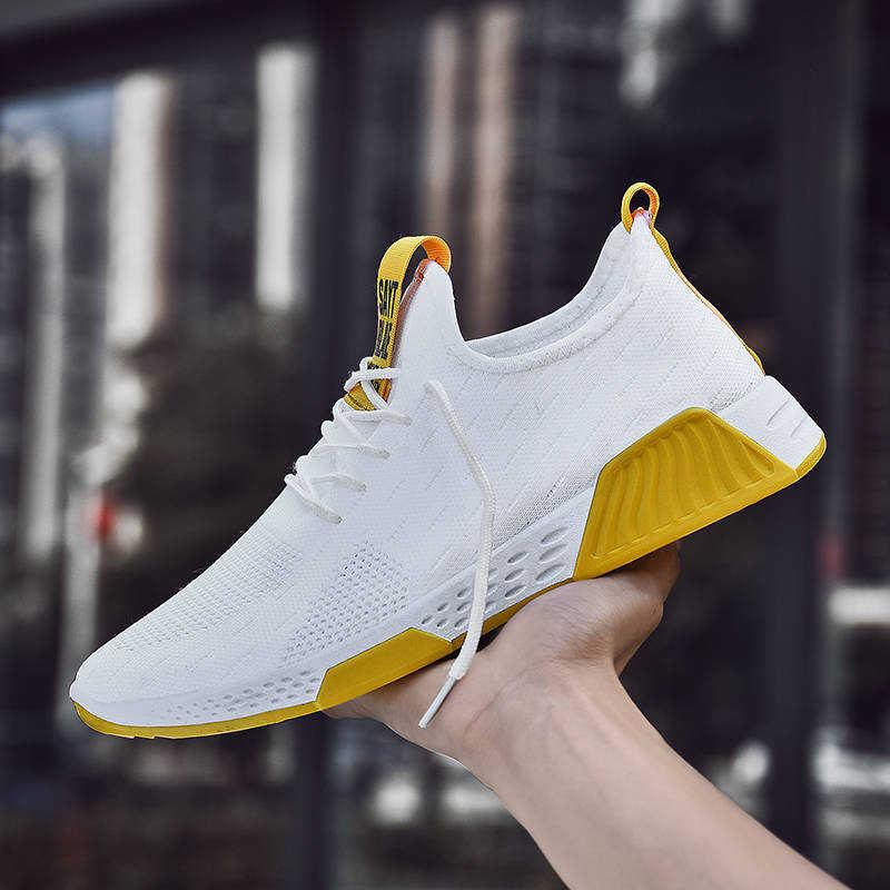 Erkekler Nefes Sneakers kaymaz Erkekler Vulkanize Ayakkabı Erkek Hava Örgü Lace Up Aşınmaya dayanıklı rahat ayakkabılar Tenisb Masculino