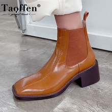 TAOFFEN Women Ankle Boots Genuine Leather Square Toe Thick Heel Winter Shoes Woman Short Boot Office Lady Footwear Size 33-40