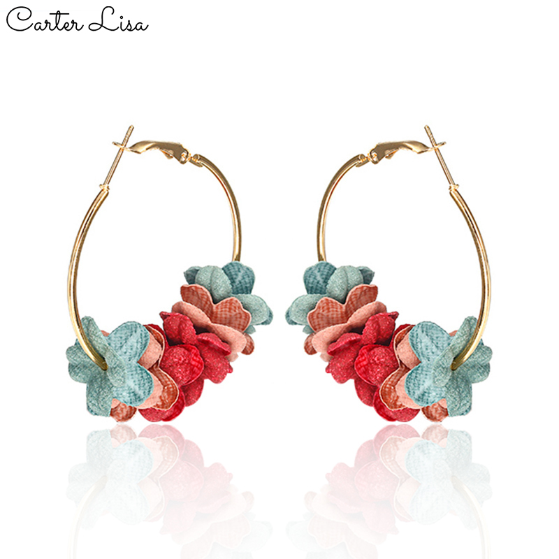 CARTER LISA 2019 New Fashion Cloth Flower Hoop Earrings 5 Color Petal For Women Round Earrings European Ins Earrings Jewelry