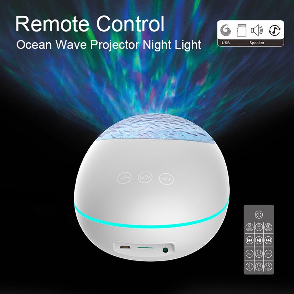 Usb Led Ocean Wave Projector Light Bluetooth Muziekspeler 7 Modi Oceaan Water Rimpel Projectie Lamp Kinderen Nachtlampje