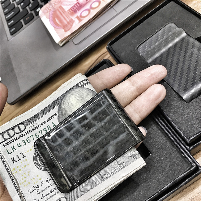 3K Full Carbon Fiber Wallet Money Clip 100% Pure Carbon Fiber Aviation Material Ultra-thin Wallet Banknote Clip Simple Wallet