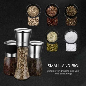 Transparent Stainless Steel Mill Pepper And Salt Grinder Manual Peper Spice Grain Mills Practical Kitchen Tools Baking Supplies image