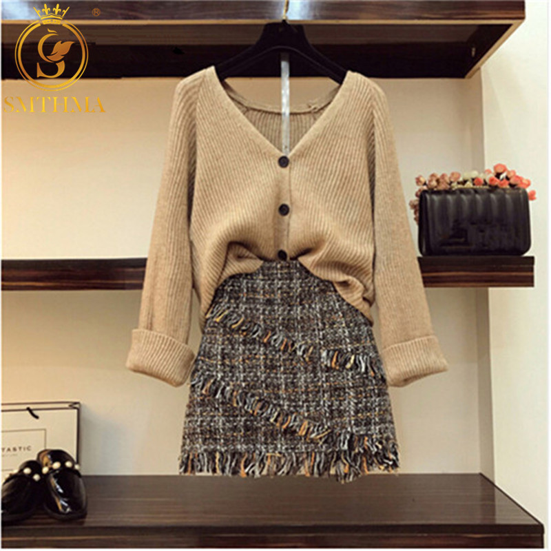 SMTHMA 2019 New Autumn Winter Womans Flare Sleeve Cardigan Knitted Coat +High-waisted Tweed Woolen Two Piece Skirt Set
