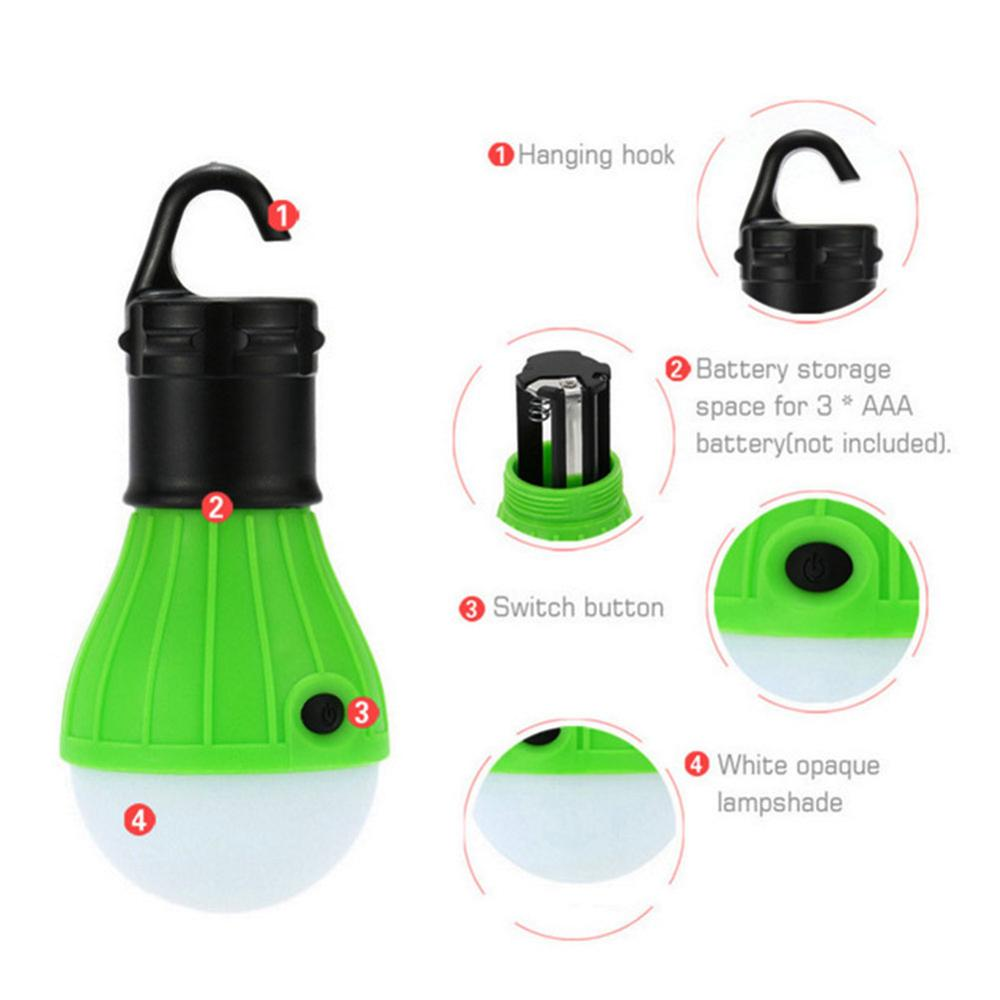 Portable Mini Lantern Tent Light LED Bulb Emergency Lamp Waterproof Hanging Hook Flashlight For Camping 4 Colors Use 3*AAA