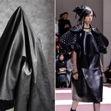 Matte Black Stretch Cotton Fabric DIY Sewing Dress Coat pants Stage decor Fashion Designer Similar leather fabric