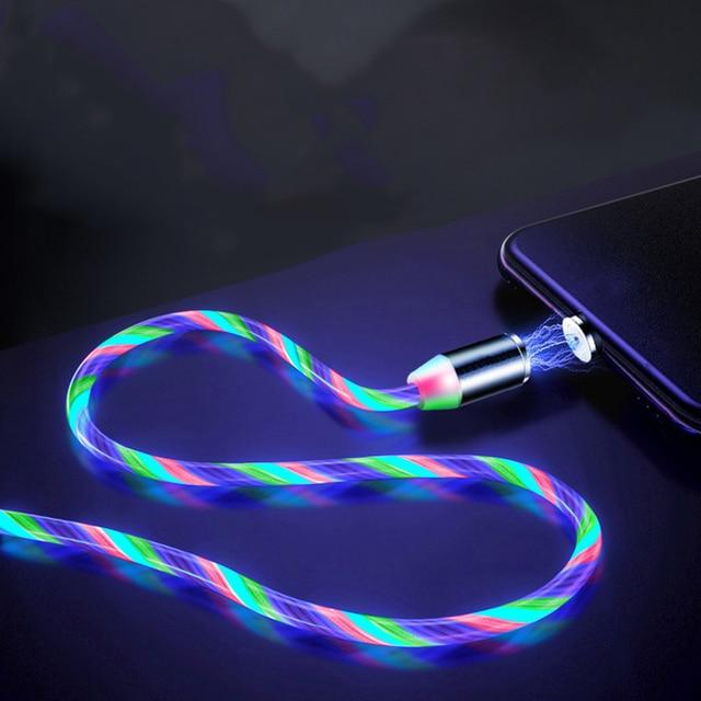 Câble magnétique lumière coloré pour iphone et samsung 3