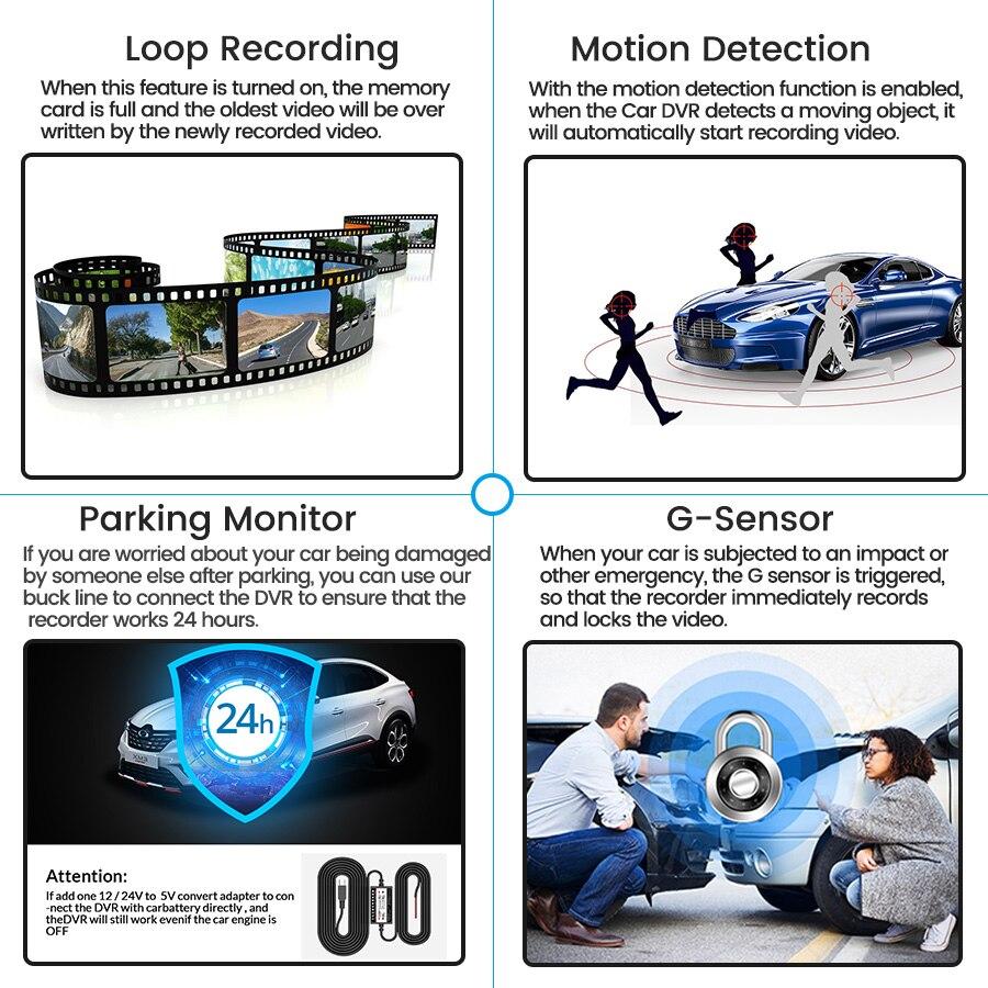 E-ACE Автомобильный видеорегистратор FHD 1080P видеорегистратор 4,3 дюймов зеркало заднего вида видеорегистратор с камерой заднего вида Автомоби...