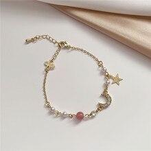 2020 New Korean Vintage Star And Moon Rhinestone Bracelet For Women Gold Pearl Girl Bracelet Gifts Fashion Jewelry Accessory moon star rhinestone studded bracelet watch