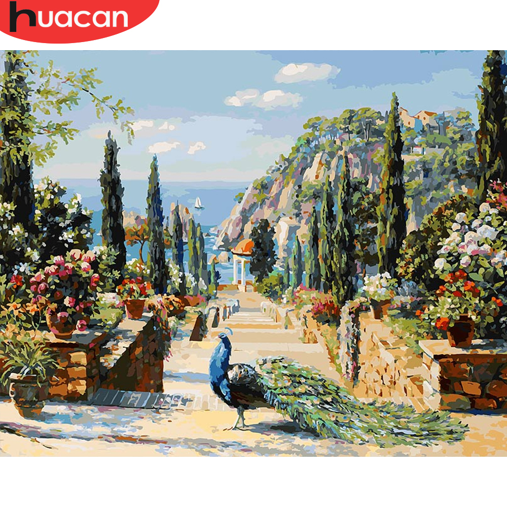 HUACAN Painting By Numbers Snow House Scenery HandPainted Kits Drawing Canvas DIY Oil Pictures By Numbers Winter Home Decor Gift