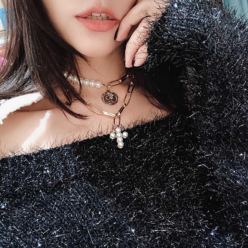 Diseño De Lujo Imitación Perlas Gargantilla Cổ Mujer Cruz Colgante Collares Para Mujer Màu Ô Rô Moda 2019 Moneda Joyería