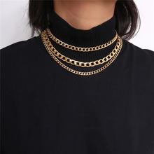 Трехслойное ожерелье цепочка золотого цвета чокер для женщин