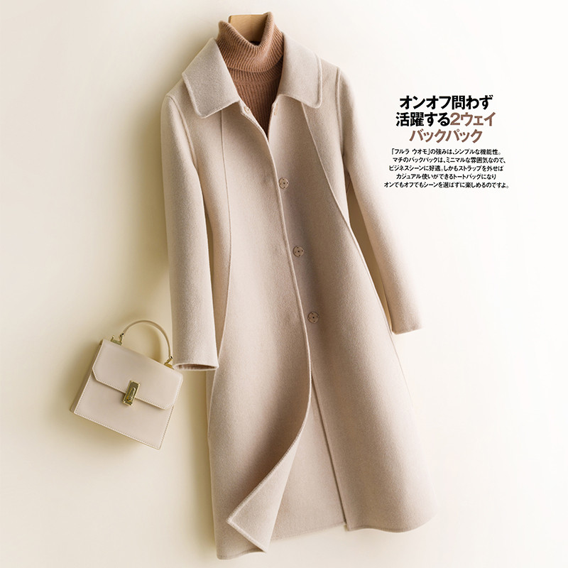 2019 outono inverno novo feminino 100% casaco de lã dupla face cashmere casaco longo casual feminino elegante senhora do escritório r1018