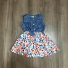 baby girls summer dress girls floral denim dress
