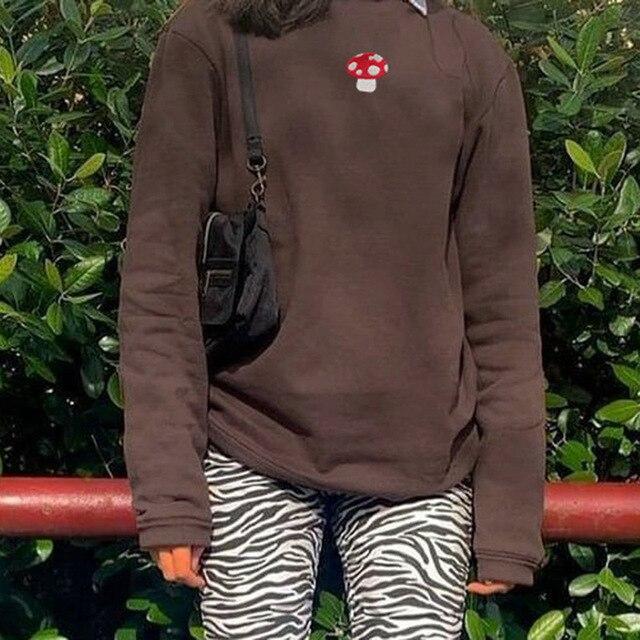 2021 Spring Sweatshirts Streetwear new Fashion Embroidery mushroom Indie Aesthetic 90s Long Sleeve Summer Hoodies clothes 5