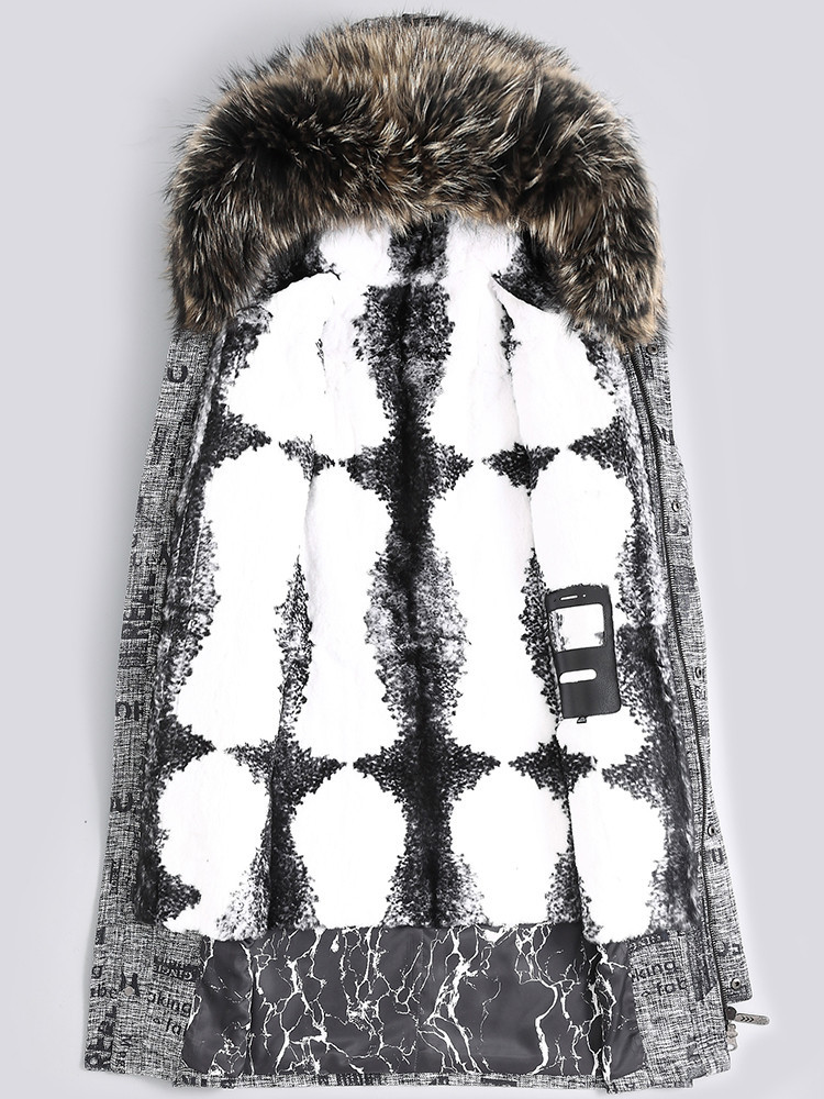 Parka Real Fur Coat Men Clothes 2020 Natural Rabbit Fur Liner Warm Long Jacket Raccoon Fur Collar Parkas 4438 KJ2985