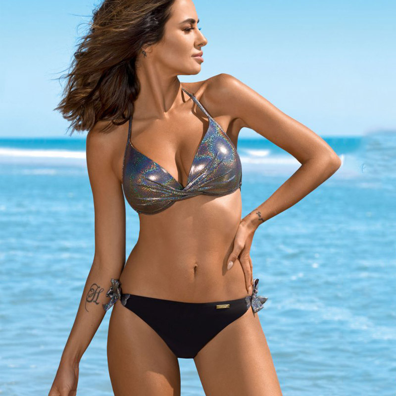 Sexy Bikinis 2020 Halter Swimsuit Solid Swimwear Women Plus Size Shiny Bordered Bikini Set Bathing Suit Push Up Two-piece Suit 3