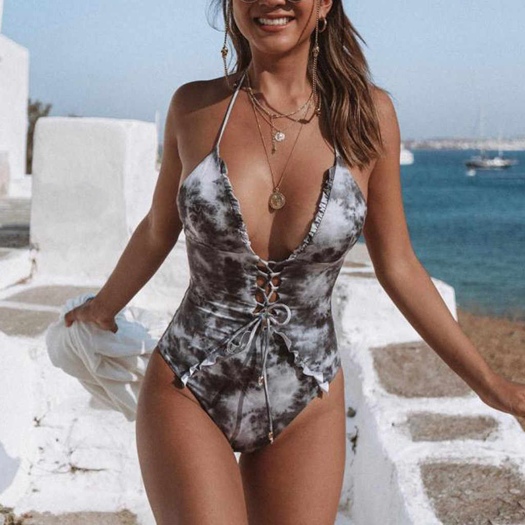 Delle donne Vestito di Nuoto Delle Donne di Un Pezzo del Costume Da Bagno Della Tuta Push-Up Beach Bikini di Un Pezzo Costumi Da Bagno costume da bagno delle donne a vita alta #11