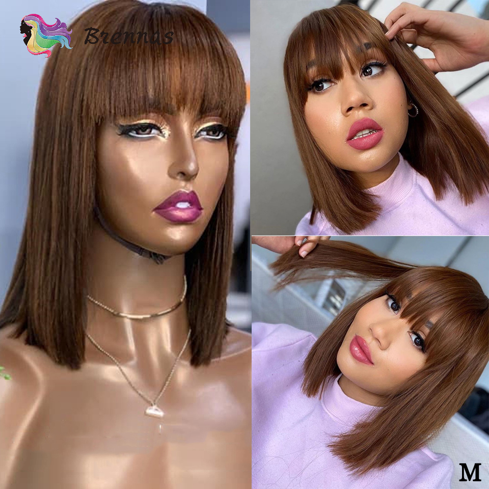 Brazilian 13x4 Lace Front Wig With Bangs Bob Straight Lace Wig With Bangs 4 Brown Color Bleached Knots Remy Human Hair For Women